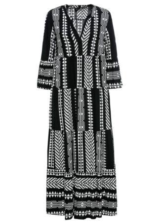 Długa sukienka z nadrukiem bonprix czarno-biel wełny wzorzysty