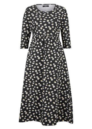 Sukienka z dżerseju z kieszeniami bonprix czarny w kwiaty