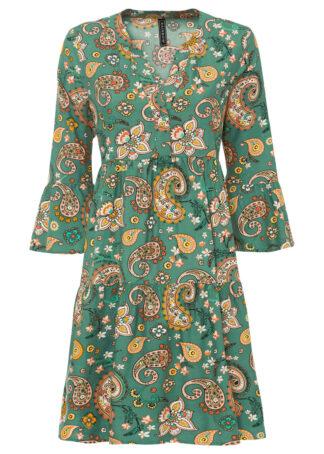 Sukienka koszulowa w deseń paisley bonprix zielony laurowy w deseń paisley