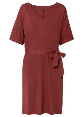 Sukienka z dżerseju bonprix migdałowy brązowy