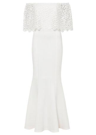 Sukienka z dekoltem carmen i koronką bonprix biały
