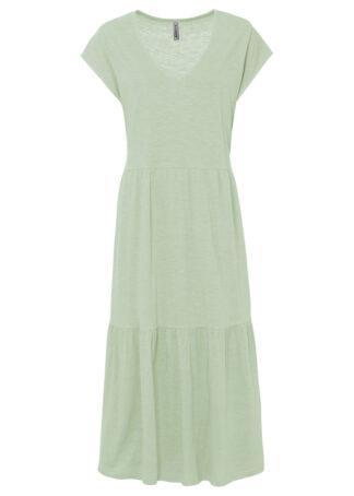 Sukienka shirtowa z falbanami bonprix kremowy szałwiowy