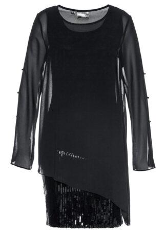 Sukienka z cekinami i tuniką (2 części) bonprix czarny