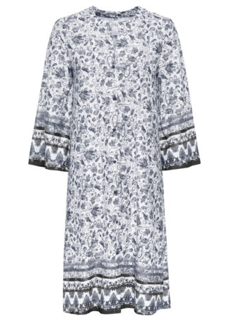 Sukienka kaftanowa bonprix czarno-biały wzorzysty
