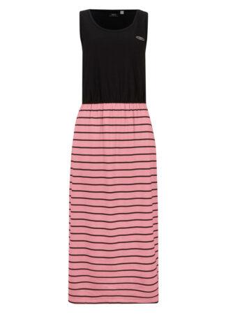 Długa sukienka w optyce 2 w 1 bonprix czarno-dymny różowy w paski