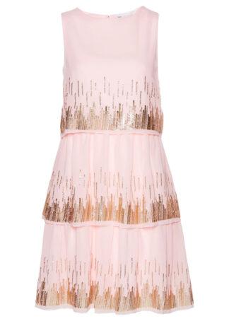Sukienka szyfonowa z cekinami bonprix pastelowy jasnoróżowy
