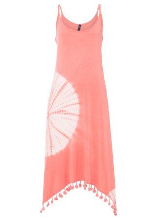 Sukienka shirtowa batikowa bonprix jasny koralowy - biały z nadrukiem