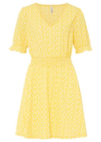 Sukienka shirtowa bonprix kremowy żółty - biały w kropki