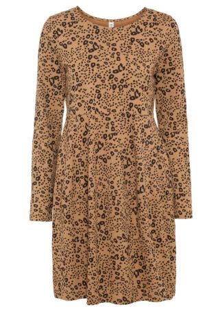 Sukienka shirtowa bonprix brązowy mokka - czarny wzorzysty