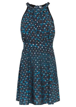 Sukienka z brokatowym nadrukiem bonprix niebieskozielony we wzór skóry węża z nadrukiem