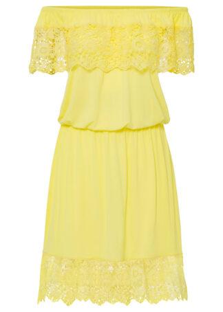 """Sukienka shirtowa z dekoltem """"carmen"""" bonprix jasna limonka"""