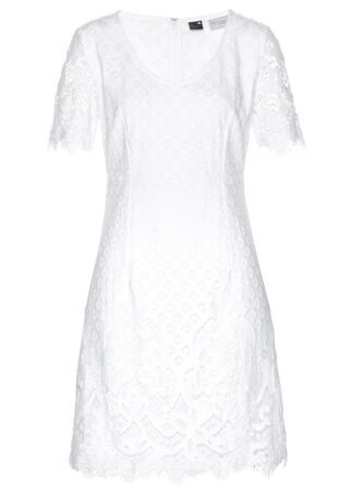 Sukienka koronkowa bonprix biały