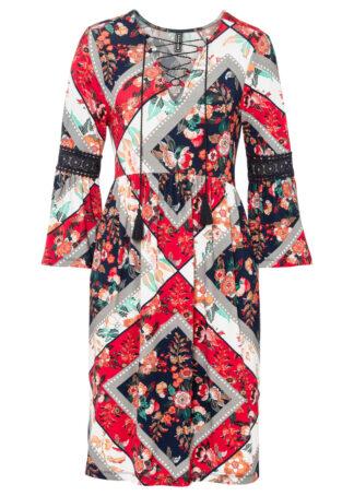 Sukienka shirtowa ze sznurowaniem i koronką bonprix ciemnoniebiesko-czerwono-szary metal w kwiaty