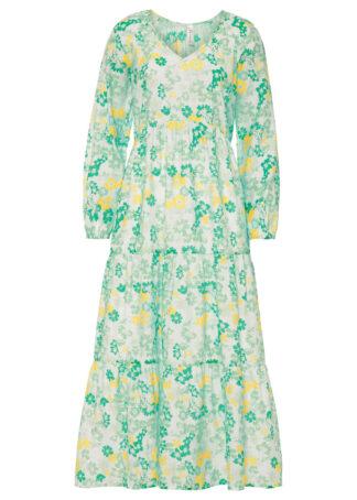 Długa sukienka w kwiaty bonprix biel wełny - kryształowy miętowy w kwiaty