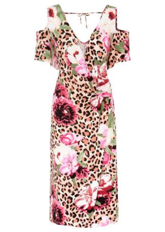 Sukienka cold-shoulder bonprix lila leo