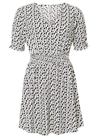 Sukienka shirtowa bonprix biel wełny - czarny w kropki