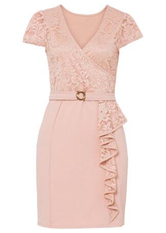 Sukienka z koronką bonprix jasnoróżowy