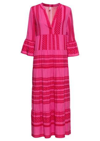 Długa sukienka bonprix czerwono-różowy wzorzysty