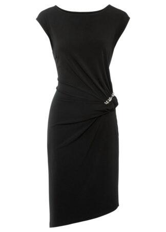 Sukienka z połyskującymi kamieniami bonprix czarny