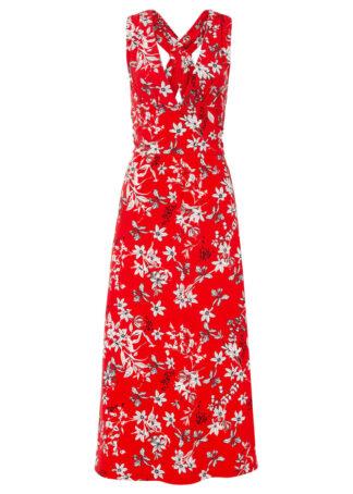 Długa sukienka bonprix truskawkowy w roślinny wzór