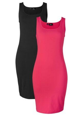 Sukienka shirtowa (2 szt.) bonprix czerwony + czarny