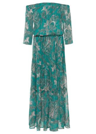 Długa sukienka z nadrukiem i dekoltem carmen bonprix niebieskozielony morski wzorzysty
