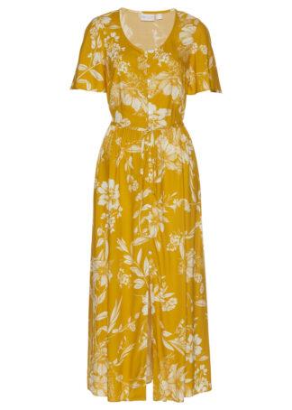 Długa sukienka z wiskozy bonprix żółty musztardowy - biały w kwiaty
