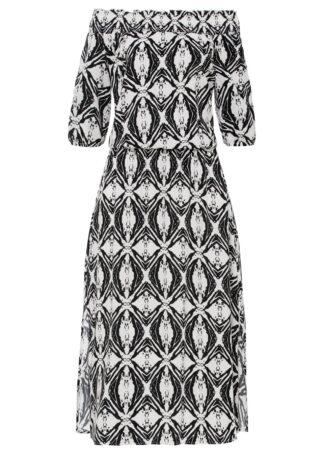 Sukienka wzorzysta z dekoltem carmen bonprix czarno-biały