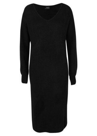 Sukienka dzianinowa midi z dekoltem w serek bonprix czarny