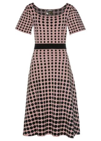 Sukienka dzianinowa w groszki bonprix różowo-brązowo-czarny w kropki