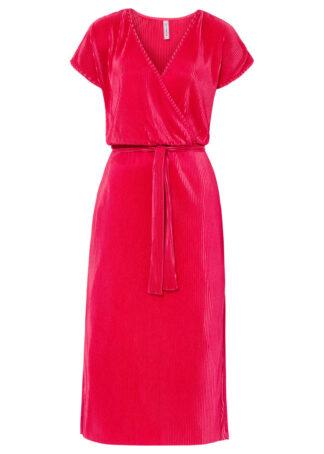 Sukienka shirtowa plisowana bonprix czerwień granatu