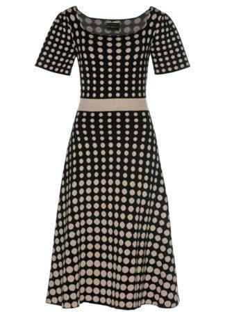 Sukienka dzianinowa w groszki bonprix czarno-kamienisty w kropki