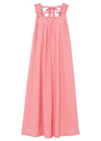 Sukienka midi z kokardką bonprix pastelowy jasnoróżowy