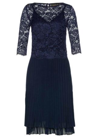 Sukienka szyfonowa 2-częściowa z koronką i plisowaną częścią spódnicową bonprix ciemnoniebieski