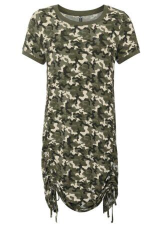 Sukienka shirtowa w deseń moro bonprix oliwkowy z nadrukiem