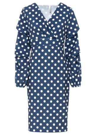 Sukienka bonprix ciemnoniebiesko-biel wełny w kropki