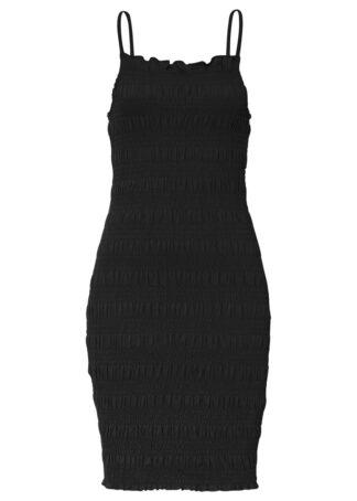 Sukienka z przeszyciem cienkimi gumkami bonprix czarny