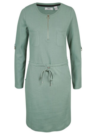 Sukienka shirtowa z bawełny bonprix dymny zielony