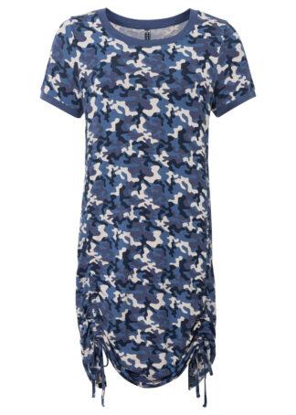 Sukienka shirtowa w deseń moro bonprix niebieski z nadrukiem