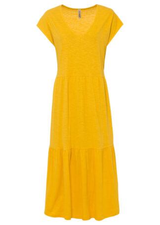 Sukienka shirtowa z falbanami bonprix żółty szafranowy