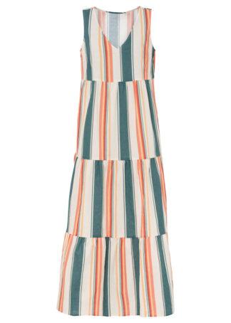 Długa sukienka z lnu bonprix biel wełny - niebieski w paski