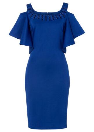 Sukienka cold-shoulder bonprix niebieski