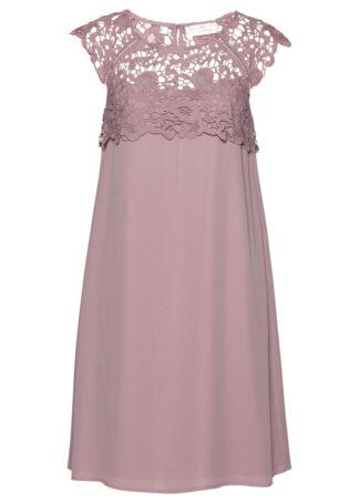 Sukienka szyfonowa z koronką bonprix różowobrązowy