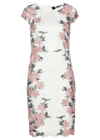 Sukienka koronkowa z nadrukiem bonprix biel wełny - stary jasnoróżowy w kwiaty