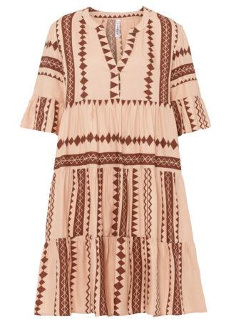 Sukienka oversize bonprix cielisto-brązowy orzechowy z nadrukiem