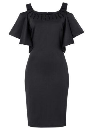 Sukienka cold-shoulder bonprix czarny