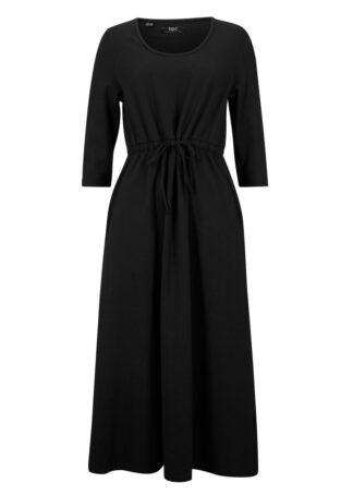 Sukienka z dżerseju z elastyczną wstawką bonprix czarny