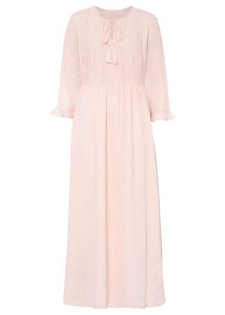 Długa sukienka z koronką bonprix bladoróżowy