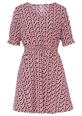 Sukienka shirtowa bonprix kremowy jasnoróżowy - czarny w kropki