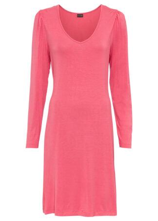 Sukienka z dżerseju z rękawami bufkami bonprix pastelowy różowy